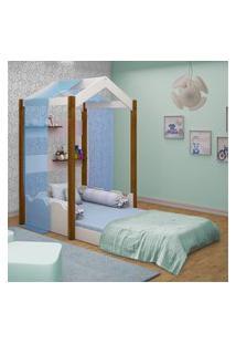 Cama Montessoriana Casa Solteiro Com Voal Azul Casah