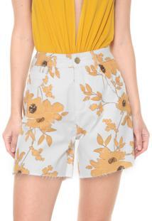 Bermuda Sarja Lança Perfume Reta Floral Branco/Amarelo