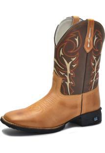 Bota Texana Over Boots Bico Quadrado Couro Caramelo