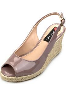 Sandália Anabela Love Shoes Espadrille Aberta Corda Verniz Nude Escuro