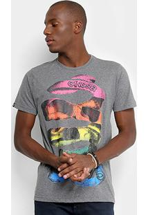 Camiseta Gangster Estampada Masculina - Masculino-Chumbo