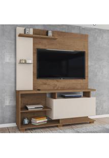 Estante Para Tv Até 55 Polegadas Viena 1 Porta Canelato Rústico/Natura Off White - Atualle Móveis