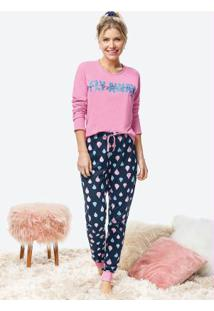 Pijama Rosa Claro Feminino Estampado Com Amarrad