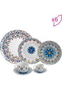 Aparelho De Jantar Marrakesh- Branco & Azul- 42Pçswolff