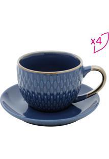 Jogo De Xícaras Para Café Com Pires- Azul- 4Pçs-Rojemac