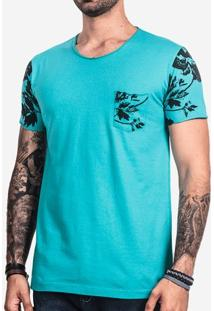 Camiseta Turquesa Manga Floral 101736