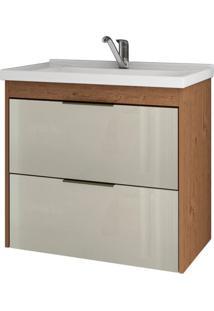 Gabinete De Banheiro Lavanda 1 Pt 1 Gv Amêndoa E Off White 59 Cm