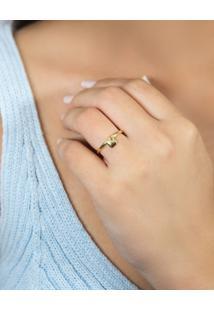 Anel De Prata 925 Com Banho Dourado Pingente De Coração Liso Pequeno-For Me