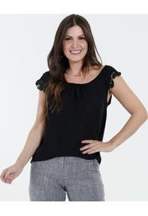 ff04c97c3 Marisa. Blusa Preta Feminina Social Crepe Renda ...