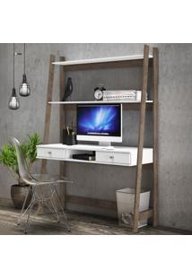 Mesa Escrivaninha 2 Gavetas 3098 Branco/Rústico - Móvel Bento