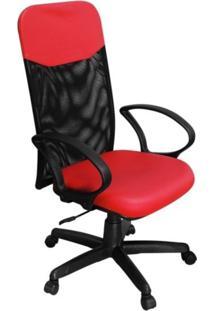 Cadeira De Escritório Pethiflex Pp-04Gtbp Presidente Giratória Vermelha