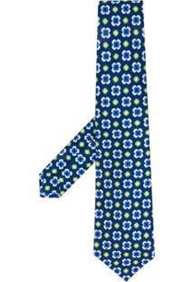 Kiton Gravata Com Padronagem Floral - Azul