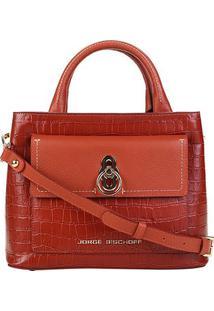 Bolsa Couro Jorge Bischoff Mini Bag Transversal Feminina - Feminino-Bordô