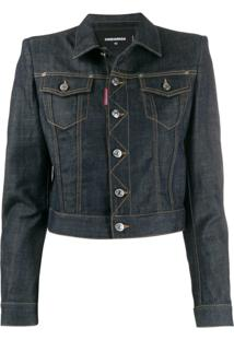 Dsquared2 Jaqueta Jeans Cropped - Azul