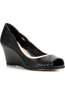 Peep Toe Couro Shoestock Anabela Snake - Feminino-Preto