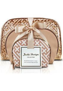 Kit De Necessaire Jacki Design C/ 3 Pçs - Unissex-Dourado