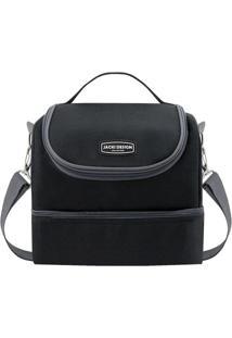 Bolsa Térmica Com Compartimentos - Preta & Cinza Escuro