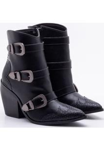 Ankle Boot Bebecê Fivelas Preta 35