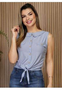 Blusa Azul Com Amarração Frontal Moda Evangélica