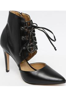 Sapato Tradicional Com Amarraã§Ã£O- Preto- Salto: 10Cmferrucci