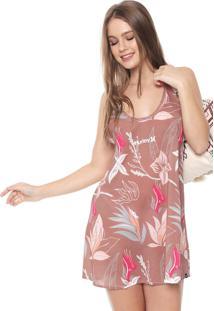 Vestido Hurley Curto Domino Floral Marrom