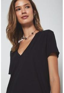 Camiseta Oh,Boy! Gola V Feminina - Feminino-Preto