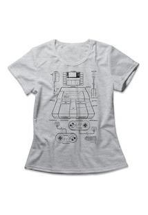 Camiseta Feminina Super Console Cinza