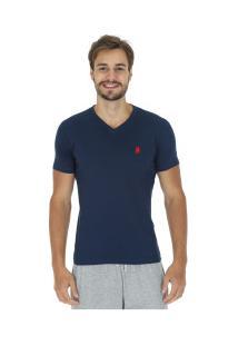 Camiseta Polo Us 706Tsgvb - Masculina - Azul Esc/Vermelho