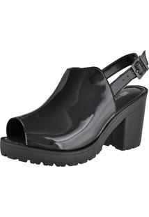 Sandália Oxford Cr Shoes Aberta Confort Verniz Preta