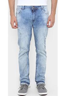 Calça Jeans Sommer Alan Skinny Puídos - Masculino-Jeans