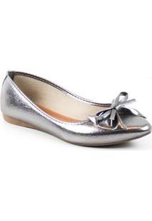 Sapatilha Tag Shoes Metalizada Laço Bico Fino Conforto - Feminino-Prata