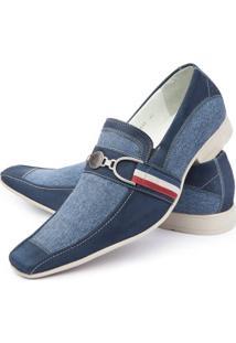 Sapato Social Couro E Lona Italiano - Masculino-Azul