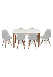 Conjunto Mesa De Jantar Luiza 135Cm Branca Com 6 Cadeiras Eames Eiffel - Cinza