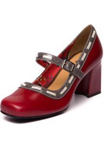 Sapato Mzq Sophia Vermelho Amora/Cinza/Araçá 5928