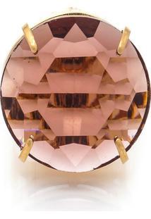 Anel Oval Cristallo Semijoia Banho De Ouro 18K Cristal Lilás