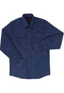 Camisa Masculina Manga Longa - Masculino-Azul Escuro