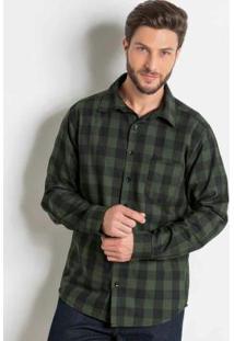 Camisa Xadrez Verde Em Flanela Actual