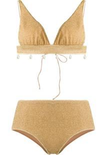 Oseree Lumiere V-Triangle Two-Piece Bikini - Dourado