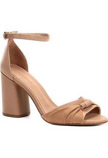 Sandália Couro Shoestock Salto Bloco Tira Feminina - Feminino-Bege