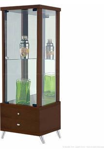 Cristaleira 1 Porta De Vidro Com Espelho E Pés Palito Onix 100% Mdf 2 Gavetas Nogueira - Móveis Forini