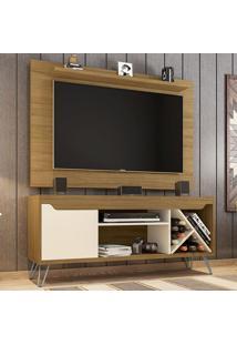 Rack Com Painel Para Tv Até 50 Polegadas Kenzo Cinamomo/Off-White - Móveis Bechara