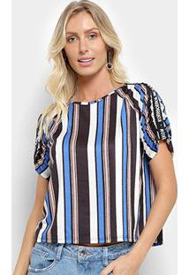 Camiseta My Favorite Thing (S) T-Shirt Raglan Listrada Feminina - Feminino-Preto+Azul