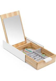 Porta Joias Caixa Organizadora Reflexion Madeira E Metal Branco Umbra