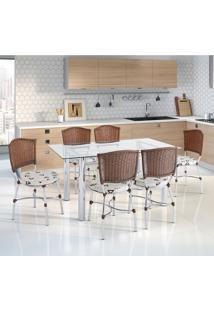 Conjunto De Mesa De Cozinha Com Tampo De Vidro E 6 Lugares Elvas Corino Incolor E Marrom