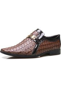 Sapato Social Calvest Em Couro Verniz E Tressê Capuccino