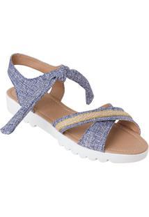 Sandália Jeans Em Tecido