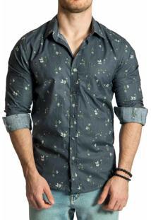 Camisa Sergio K Estampada Buquê Cinza