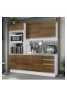 Cozinha Compacta Madesa 100% Mdf Acordes 8 Portas - Branco/Rustic
