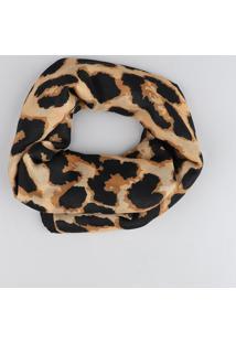 Lenço Feminino Estampado Animal Print Bege - Único