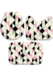Jogo Tapetes Love Decor Para Banheiro Multi Triângulos Rosa Único - Kanui